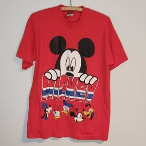 Vintage Disney Mickey and friends red T-Shirt